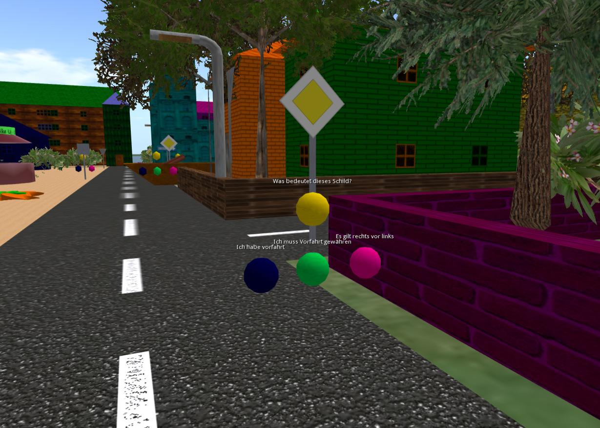 Unterwegs in der Stadt wird der Spieler mit verschiedenen Verkehrssituationen konfrontiert. Hier muss eine Frage zur Vorfahrt korrekt beantwortet werden.
