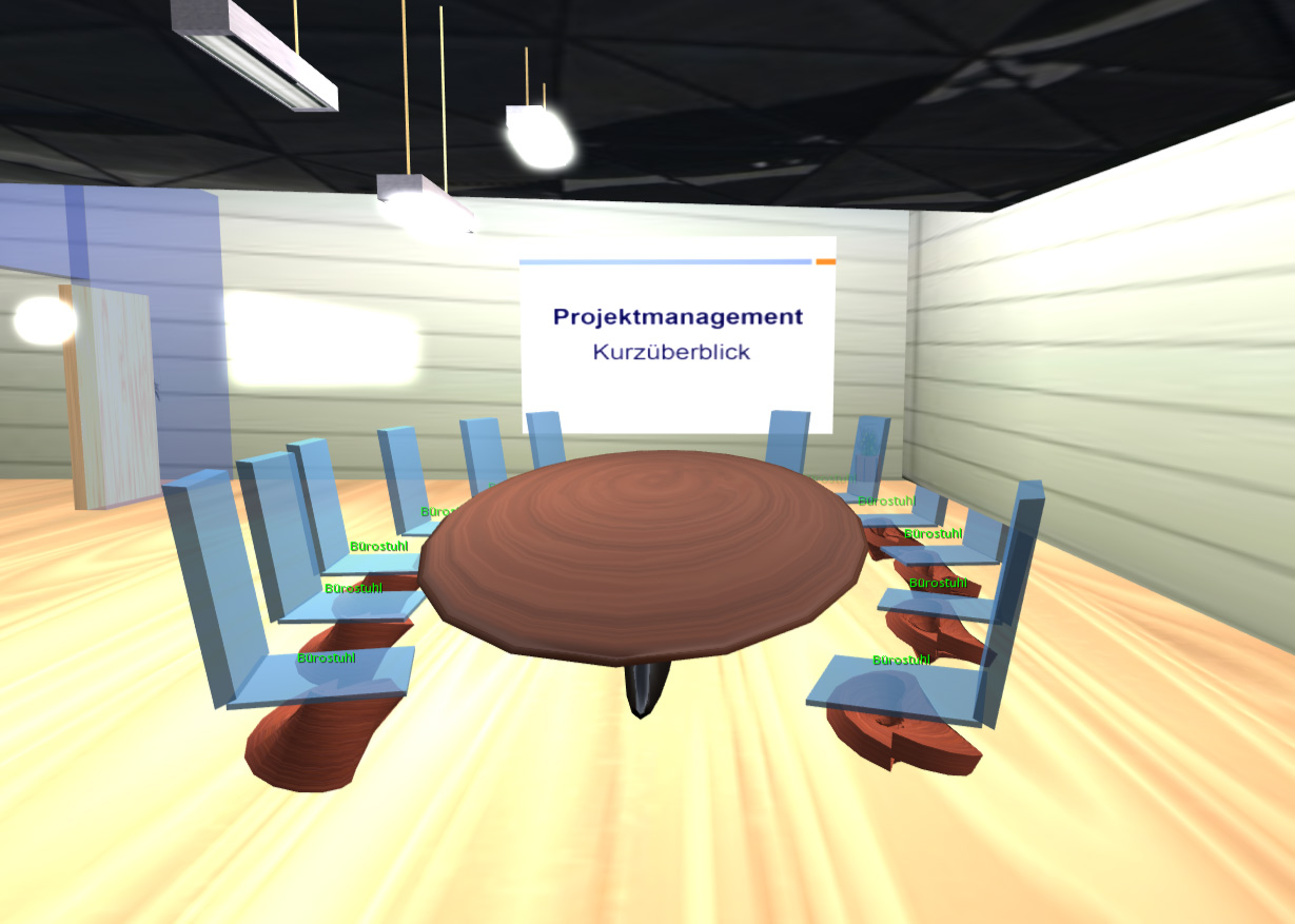 Im Meeting-Raum erwartet die Spieler eine kurze Einführung in das Thema Projektmanagement.