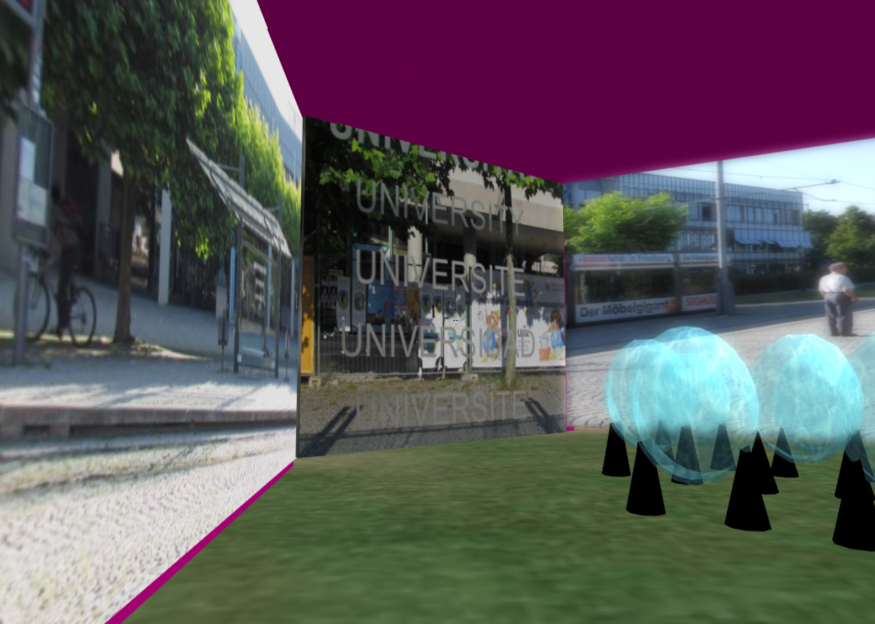 Reich bebilderte Räume machen mit der Universitätsumgebung vertraut.